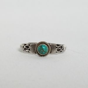 Genuine turquoise 925 silver scrollwork ring 8
